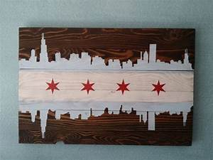 Chicago flag wall art 32quotx 18quot for Chicago wall art