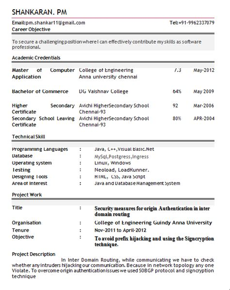professional resume  freshers rtr resume format
