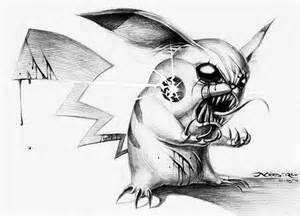 Evil Pikachu Drawing in Pencil