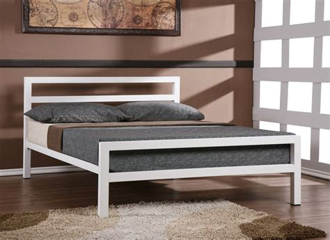 Steel Bed Frame by New City Block 5ft King Size White Modern Metal Bed Frame