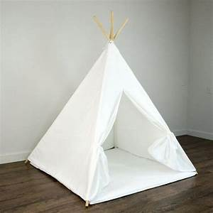 Kids Play Teepee Tent And Play Mat In Solid Plain White
