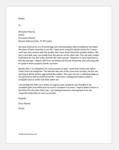 Complaint Letter of Poor Service of Telephone | Word