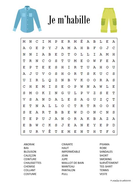 clothing vocabulary word search puzzle