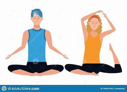 Poses Yoga Couple Character Cartoon Graphic Headband