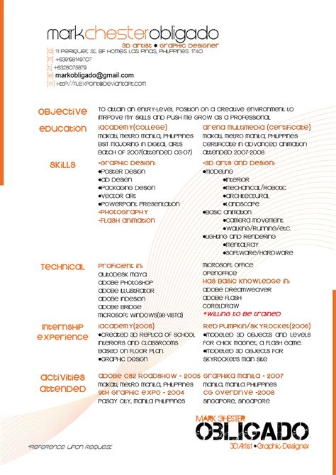 resume graphic artist 2009 by flexpoint on deviantart