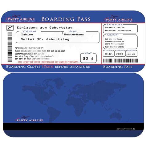 einladung geburtstag boarding pass hochzeit