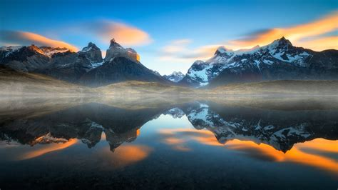 Snowy Mountain Desktop Wallpaper Nature Mist Landscape Sunset Mountain Lake Reflection Torres Del Paine Chile Water