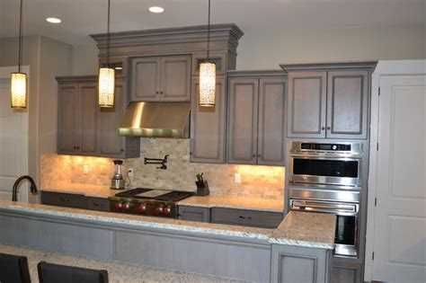Gray Stained Cabinets by Gray Stained Cabinets With Black Glaze Traditional