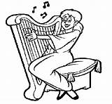 Harp Playing Coloring Woman Celtic Drawing Colorear Getdrawings Coloringcrew Music sketch template