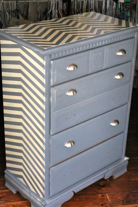 decorating ideas for apartment living rooms dresser refinished with chevron painting pattern