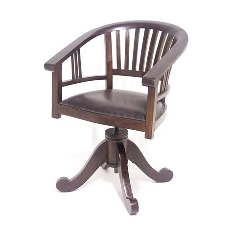 fauteuils de bureaux fauteuil de bureau tournant en teck et cuir style colonial