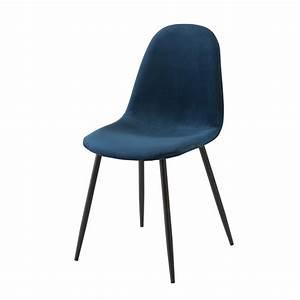 Chaise Velours Bleu : chaise style scandinave en velours bleu maisons du monde ~ Teatrodelosmanantiales.com Idées de Décoration