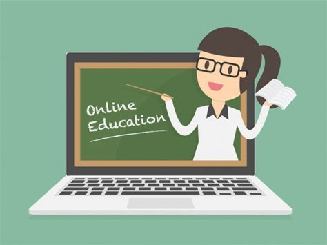 Online Education On Laptop Vector  Free Download