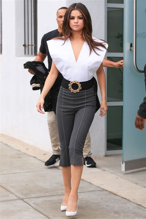 Selena Gomez Shows Off Sideboob In Plunging White Top