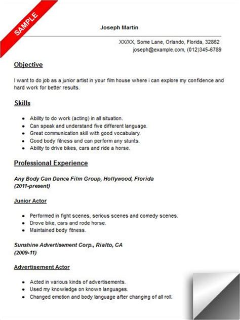 actor resume sle resume exles