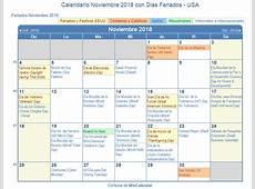 Calendario Noviembre 2018 para imprimir Estados Unidos