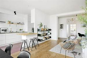 1001 conseils et idees pour une cuisine ouverte sur le salon With deco cuisine avec chaises salon blanches