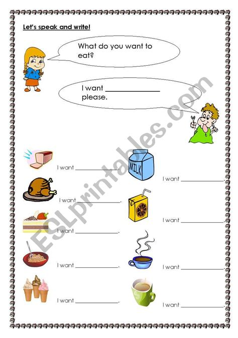 What Do You Want To Eat?  Esl Worksheet By Allbright