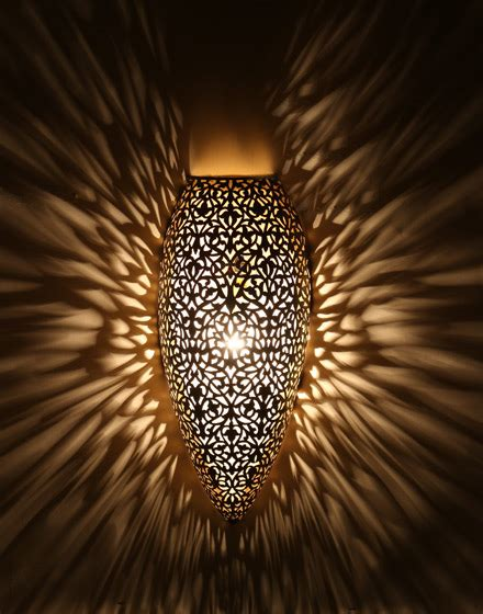 moroccan antique brass wall light with floral design