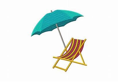 Beach Umbrella Chair Clipart Embroidery Machine Cartoon