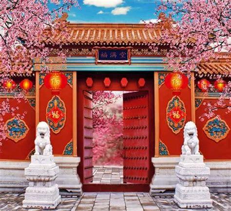 peach chinese garden blossoms studio photography vinyl