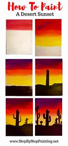 How, To, Paint, A, Cactus, Silhouette, Sunset