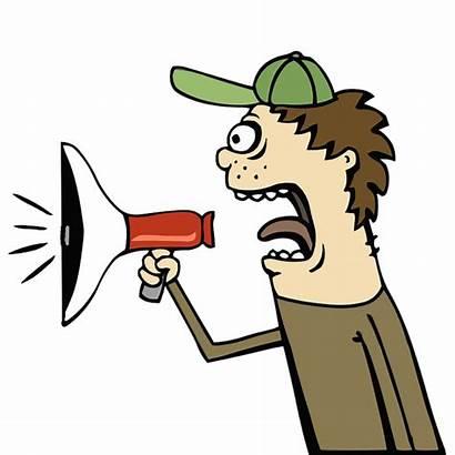 Cartoon Loud Clipart Yelling Announcement Bullhorn Sound