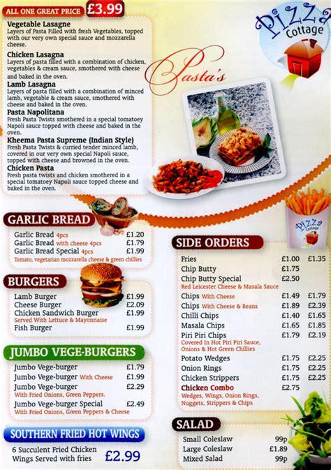 pizza cottage menu pizza cottage burger takeaway on evington road leicester
