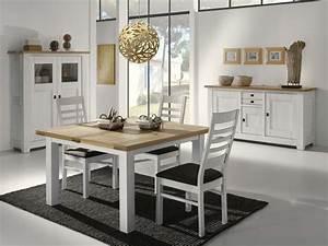 table carree pieds en chene blanchi alicia meubles turone With salle À manger contemporaine avec lits jumeaux