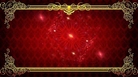 Spinning Red Abstract Background, Golden Frame Stock Video