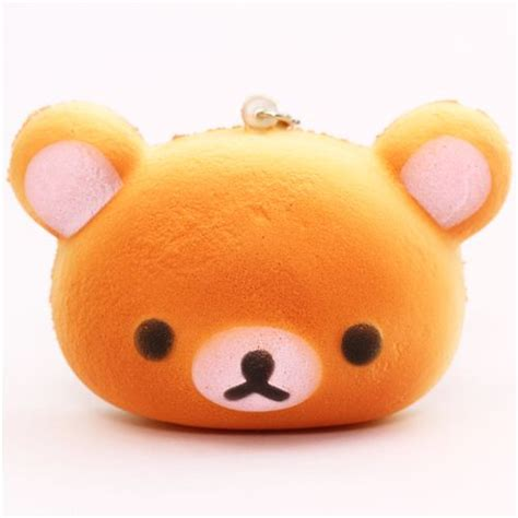 jumbo bread squishy rilakkuma bread bun pale pink squishy cellphone charm