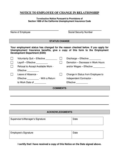 Are my unemployment benefits taxed? Notice To Employee As To Change In Relationship Example - Fill Online, Printable, Fillable ...