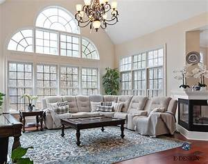 Formal Traditional Two Storey Vaulted Living Room  Sherwin Williams Cream Paint Colour  Casa