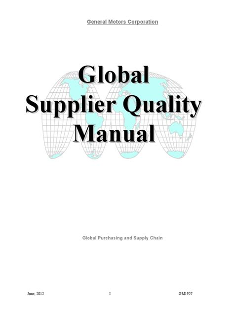 Gm 1927  Supplier Quality Manual  Business Process Audit
