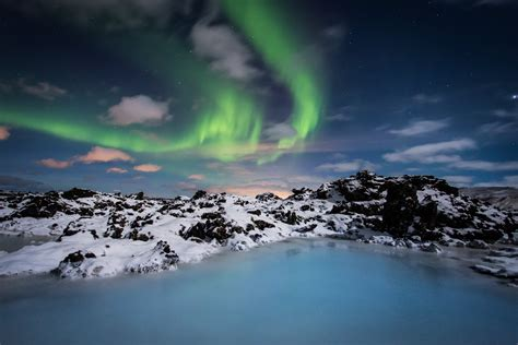 Iceland blue lagoon thermal spa and northern lights