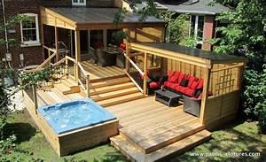 patio avec polycarbonate proulx terrasse pinterest With amenagement paysager avec piscine creusee 11 amenagement spa jardin recherche google terrasse
