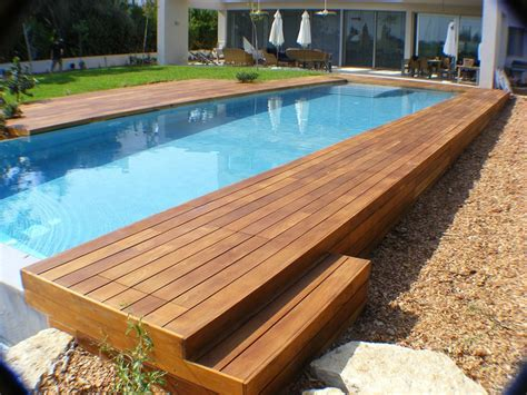 wood pool decks swimming pool rectangular above ground infinity pool with wooden deck and umbrella canopy also