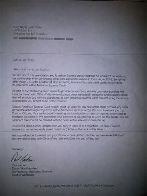 leaked letter  costco citi american express