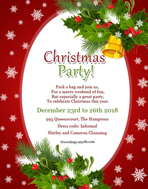 invitation for christmas party invitation wordings wordings and messages