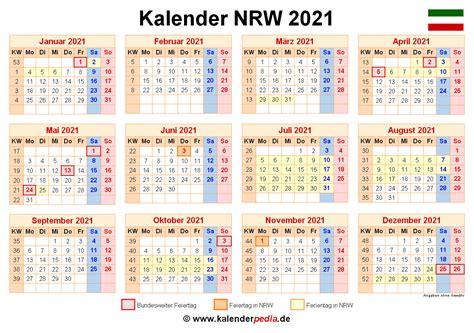 Ferien nrw 2021 kalender nordrhein westfalen 2021 download. Kalender 2021 NRW: Ferien, Feiertage, Excel-Vorlagen