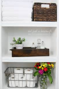 Shelves In The Bathroom by Bathroom Shelves Not Just A Housewife