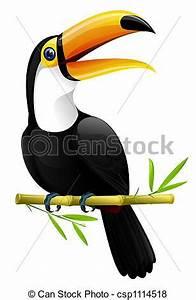 Stock de Ilustraciones de tucán colorido, tucán, Sentado, en, Un, bambú, rama, csp1114518