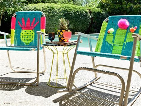 a colorful bohemian poolside patio makeover diy