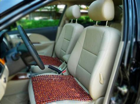 Brown Wooden Beads Wooden Car Seat Cushion. Cool Side