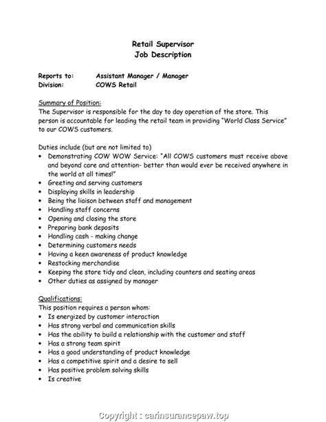 Supervisor Description For Resume by Creative Store Supervisor Description Resume