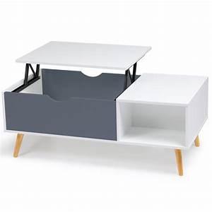 Table Basse Blanc Gris : table basse effie plateau relevable bois blanc et gris ~ Nature-et-papiers.com Idées de Décoration