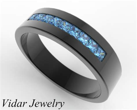 black wedding band with diamonds 39 s blue wedding band in black gold vidar jewelry unique custom engagement and