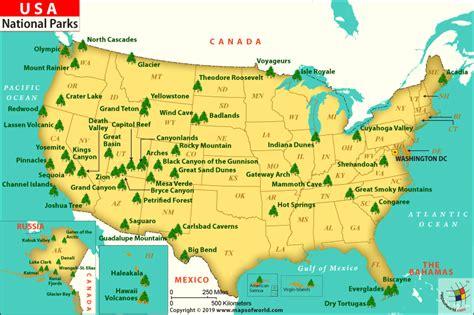 national parks map list  national parks