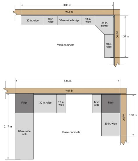 kitchen cabinets top view plan view of wall cabinets and base cabinets in kitchen