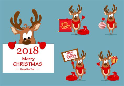 Merry Christmas Greeting Card With Funny Reindeer Set Of